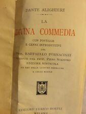 LA DIVINA COMMEDIA Dante Alighieri Raffaello Fornaciari Hoepli libro di da per