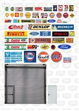Garage Scene Sign Set 1/43 A4 Sticker Sheet Diorama.