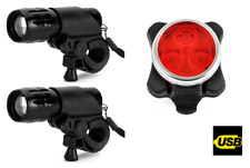 TWO front & rear 3 led rechargeable lights set kit bike light lights alloy zoom