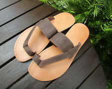 Men's Handmade Greek Leather Sandals, Nubuck Toe Strap Sandals