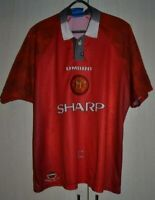 MANCHESTER UNITED 1996/1997/1998 HOME FOOTBALL SHIRT JERSEY UMBRO SIZE L