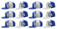 12 Pack LA Fitted Caps, Blue Los Angeles California Sports Baseball Hat Bulk