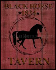 Primitive Colonial Folk Art Black Horse Tavern Inn Sign 1834 Print 8x10