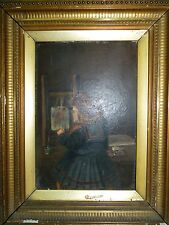 """Antique English Oil Painting """"The Student"""",  Little Girl Artist, 24.5 x 17 cm"""