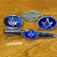Vntg Silver Cuff Links & Tie Clip Bar REGAL BLUE Anson Free Mason MASONIC