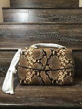 Michael Kors Ava Medium Python Snake Embossed Leather Mk Satchel Bag Dark Khaki