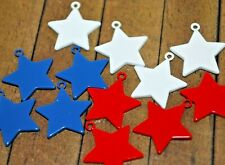 12 pc of Star shaped enameled metal pendants - 18mm -Was $17- A1224a+