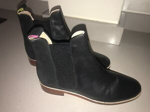 JOULES Westbourne Chelsea Leather Boots Black / Cord Sz 7 RP£140 FreeUKP&P
