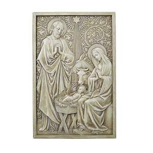 Renaissance Nativity Indoor Outdoor Garden Plaque Stone Resin
