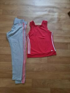 ADIDAS CLIMATE LADIES  RUNNING SLEEVELESS RED TOP WITH LEGGINGS SIZE 12-14