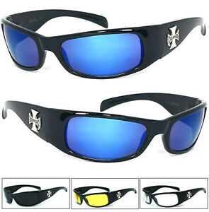 1 or 3 Pair Choppers Motorcycle Biker Riding Wrap Sunglasses Shiny Black Frame