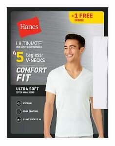 Mens T-Shirt 5 Pack V-Neck Hanes Ultimate Comfort Fit White Undershirt Bonus