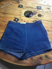 American Apparel high waisted denim shorts - Side Zip- dark blue wash - Sz L 10