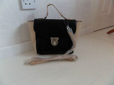 NEW BLACK & NUDE DESIGNER INSPIRED TRAPEZE STYLE HANDBAG WITH SHOULDER STRAP