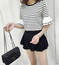 Korean Women Casual Striped Loose Slim Short Sleeve Crew Neck Shirt Blouse Top