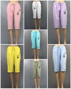 made in Italy: Damen Capri Bermuda Jogg-Pants Dehnbund 7 Farben Gr. 36 - 42