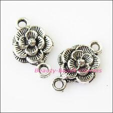 15Pcs Tibetan Silver Tone Flower Charms Pendants Connectors 12x20mm