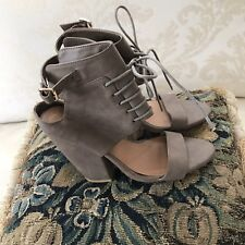 Charlotte Russe Taupe Vegan Leather Lace Up Heels Sandals SZ 8