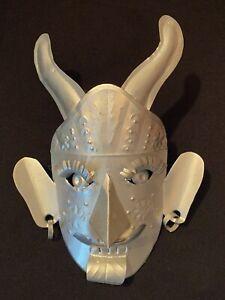 Vtg Small Taxco Mexican Folk Art Tin Horned Devil Demon Mask Primitive Tourist