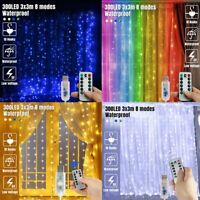 3M 300LED Party Wedding Curtain Fairy Lights USB String Light Home w/Remote&Hook