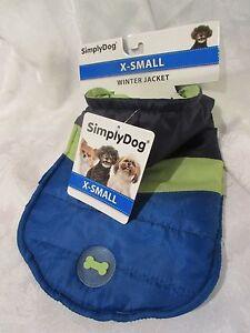 SimplyDog XSmall - Windbreaker Winter Jacket Hooded Navy/Blue & Chartreuse NWT