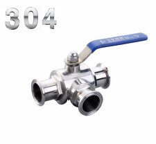 "1.5"" Stainless Steel 304 Sanitary Ball valve Three way Clamp Connection T Type"