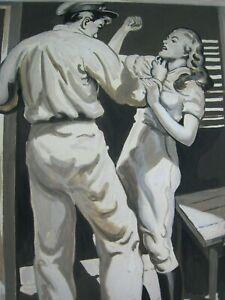 Original 1940s Murder Mystery Pulp Illustration Art -  ' Woman Attacked ! '