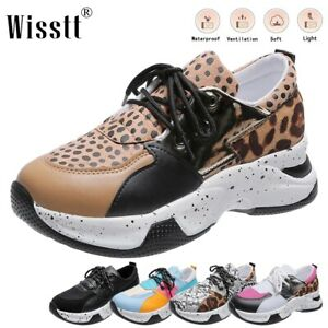 Womens Leather Wedge Sneaker Gym Sports Soft Running Loafer Fashion Chunky Shoes