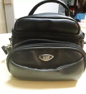 ICON Camera Case Black Leather Like Thick Bag with Shoulder Strap