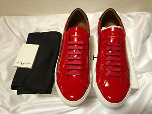 Givenchy Urban Street Sneakers Men Patent Leather Red New Mens Size 8us 41eu