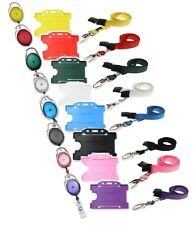 Neck Strap Lanyard, ID Badge Holder & Retractable YoYo Reel Set - All Colours
