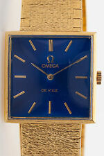 Vintage 1960s $10,000 OMEGA DEVILLE BLUE Dial 18k Yellow Gold Mens Watch 61g
