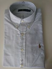 Ralph Lauren Clasic Fit Shirt Oxford Style Long Sleeve With Tag L Stripe Blue