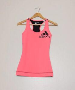 Adidas Techfit Tank 2 Colour Top Vest Pink Size XS 4-6 Climalite