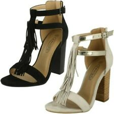 Ladies Spot On Heeled Tassel 'Sandal'