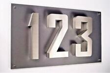 3D-Hausnummer Hausschild Edelstahl V2A 45cm x 28cm New-Design diamant-anthrazit