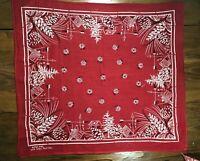 Bandana Vintage Red Weathervane Cabin Pinecone Handkerchief Bandana Rare Design