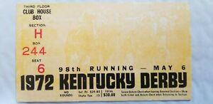 1972 Kentucky Derby Ticket Stub Riva Ridge Winner Churchill Downs Club House