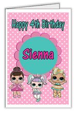 Lol Surprise Doll Fancy Luxe Unicorn Personalised Birthday Card - any name & age