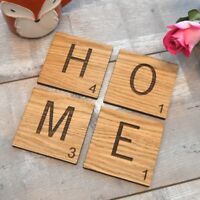 Individual Scrabble Letter Tile Oak Wooden Coasters Gift Present Alphabet Names