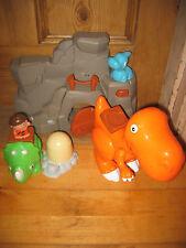 Crecer Jugar Cueva de hombre Flintstone dinasaur sonidos playfigure Set X 6 hombre parte móvil