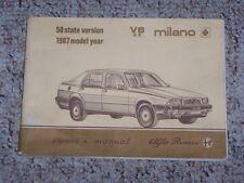 1987 Alfa Romeo Milano V6 2.5 Factory Original Owners Owner's User Manual Book