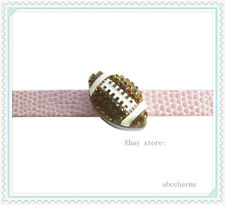 wholesale 10 pieces rhinestone Football 8mm SLIDE charms for charm bracelet