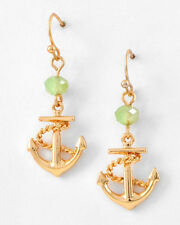 Nautical Ocean ShIp Boat Gold ANCHOR Jade Green Stone Drop Earrings NWT