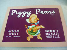 Vintage Piggy Pears Brand Medford Oregon Highcroft Orchards Advertisement Poster