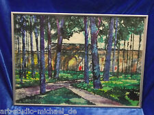 """Aquarell, russisch,""""Blaue Bäume vor Architekturkulisse"""" 1990"""