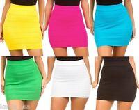 Black Stretch Fit Pleated Tier Bandage Bodycon Pencil Mini Skirt