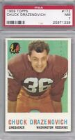 1959 Topps football card #172 Chuck Drazenovich, Chicago Cardinals PSA 7 NM