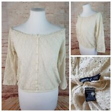 Bluenotes Jr L Off- White Lace Stretch Off-Shoulder Blouse Ruffles 3/4 Sleeves