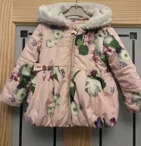 TED BAKER. Girls Floral Coat. Age 18-24mth.